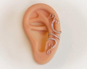 Silver Ear Cuff - Elegant Ear Wrap - Non-Pierced Earring