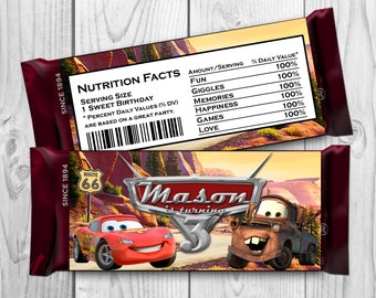 Cars Candy Bar Wrapper - Disney Cars Chocolate label - Cars Printables - Cars Hershey Bar Wrappers
