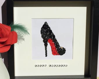 Personalised Louboutin stilletto button art - shoe lover gift - birthday gift - gift for her - red sole art
