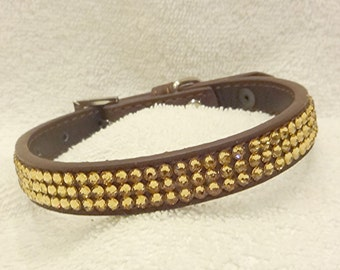 Rhinestone Dog Collar, Swarovski Rhinestones Dog Collar, Gold Bling Dog Collar, Small Brown Pet Collar