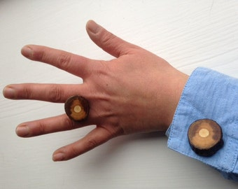 Wood cufflinks - rose wood cufflinks - wooden cuff links - groom cufflinks - wedding cufflinks - rustic cuff links - cufflinks - rose wood