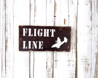 FLIGHT LINE with c-130 aircraft rustic wood sign