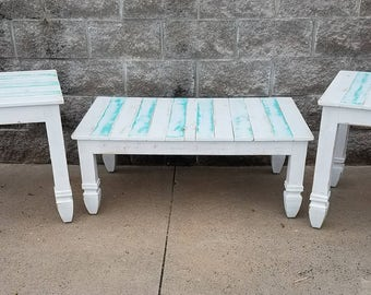 Farmhouse living room set, coffee table and 2 matching end tables with white and turquoise distressed finish,  Fixer upper furniture,