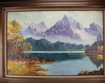 Oil Painting Landscape, Purple Mountains Lake Sailboat, S. Leis, Large