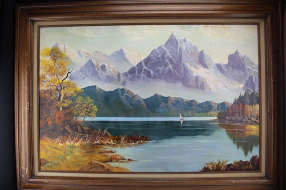 Oil Painting Landscape, Purple Mountains Lake Sailboat, S. Leis, Large