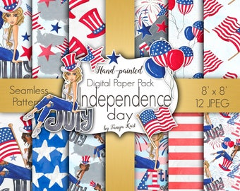 Summer Digital Paper, 4 th of July Digital Paper, Independence Day  Paper Pack, July Digital Paper, Hand Painted Paper, USA Paper, USA Flag