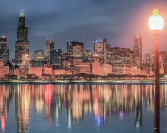 Chicago Skyline Ice Reflection, Night Chicago Photography, Chicago Skyscrapers, Cityscape, Lake Reflection, Chicago Photo Art Decor