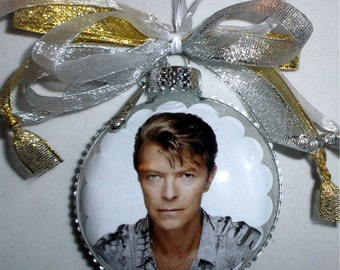 David Bowie inspired tribute Glass Christmas Ornament