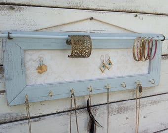 Wall Jewelry Holder, Jewelry Organizer, white jewelry rack