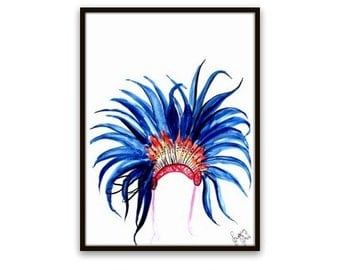 Chief headdress Print watercolor painting blue feather headpiece decor native anerican boho wall decal fine art poster print deco nursery