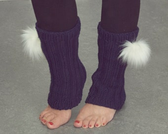 Leg warmers with or without pompoms for woman or teen hand-knitted gaiters legwarmers pom-poms faux fur acrylic