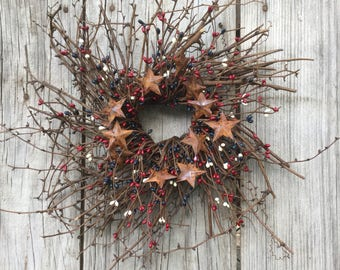 Red, White and Blue Pip Berry Wreath, Patriotic Wreath, Americana Wreath, Twig Wreath, Rustic Wreath, July 4th Wreath, Country Wreath