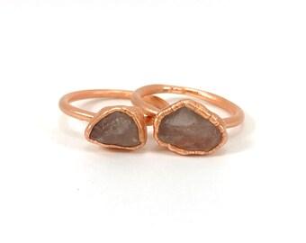 Rose Quartz Ring, Raw Stone Ring, Raw Crystal, Electroformed Ring, Copper Ring, Pink Gemstone, Love, Fertility, Rough, Nugget, Healing Stone
