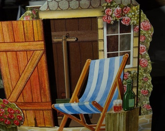 3D Card Deckchair and Shed