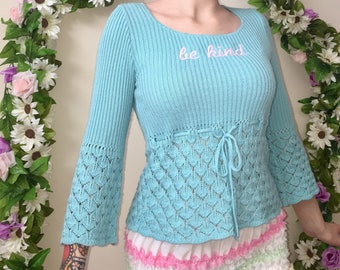 "Upcycled ""Be Kind"" Sweater in Pastel Blue ~ Kawaii Self Care Nice Lolita Pinup Magical Girl Cosplay Nu Goth Grunge DIY Femme Feminine"