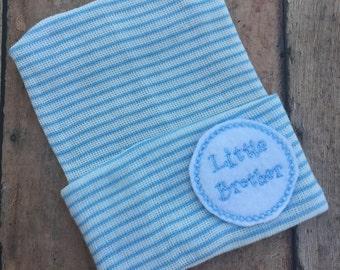 Newborn baby boy hospital hat  beanie  - little brother, blue stripes