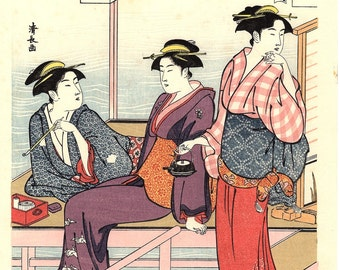 "Japanese Ukiyoe, Woodblock print, antique, Kiyonaga,  ""Cooling off in the Evening at Shijo Riverbank"""
