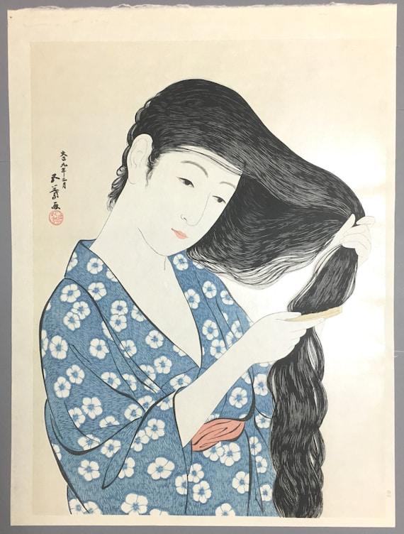 """Japanese Ukiyoe, Shin-hanga, Woodblock print, antique, Hashiguchi Goyo, """"Woman Combing her Hair"""""""