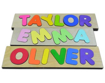 Funky Fonts Personalized Wooden Name Puzzles Child's Name Custom Made Puzzle Great Birthday Easter Christmas Gifts Valentine's Day 222794631
