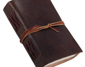 Rustic Pocket Leather Journal Diary (Handmade) with leather tie closure - Coptic Bound