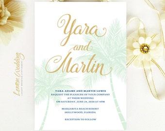 Beach wedding Invitations printed | Mint green and gold wedding invitations | Palm tree invitation | Destination wedding invitations cheap