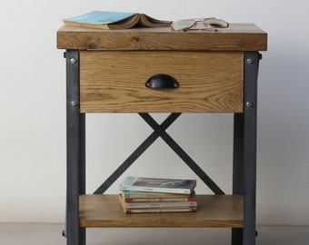 KONK! Industrial Bedside Table with Drawer/Storage Unit - Oak/Steel - side table, Shelf, Rustic, Vintage