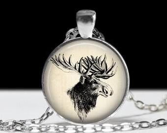 Moose Necklace Moose Jewelry Necklace Wearable Art Pendant Charm Moose Pendant Charm