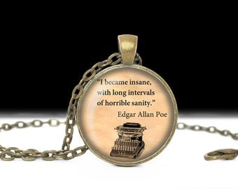 Edgar Allan Poe Necklace  Art Poe  Necklace Steampunk Jewelry Necklace Poe Jewelry Bookworm Gift Edgar Allan Poe Quote