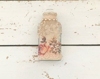 Altered Bottle, Mixed Media, Decorated Bottles, Decorative Bottle, Shabby Chic Decor, Bottle Decor, Gift for Mum, Mothers Day Gift, Bottle