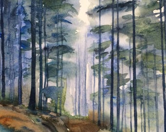 Forest painting, forest watercolor, Misty forest, Misty trees, watercolor trees, pine forest painting, tree painting, fir trees, landscape