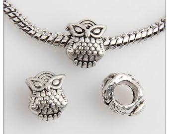 50 Owl Beads Fit Charm Bracelet 10x8mm