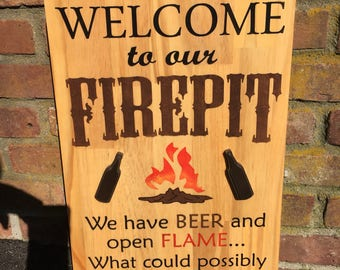 Welcome to Our Fire pit We have Beer and Open Flame what could go wrong?