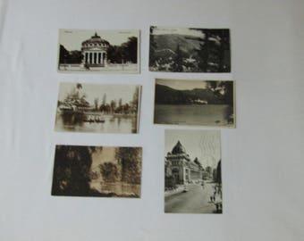 six black and white Romanian antique postcards of Bucharest , Romanian vintage postcards, Romanian postcards. Bucharest postcards.