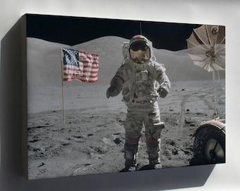 Canvas 24x36; Apollo 17 Moon Landing Cernan On The Moon