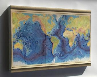 Canvas 24x36; Heezen-Tharp World Ocean Floor Map By Berann 1977
