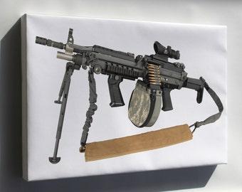 Canvas 24x36; Improved M249 Machine Gun
