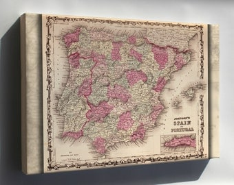 Canvas 24x36; Map Of Spain And Portugal 1862