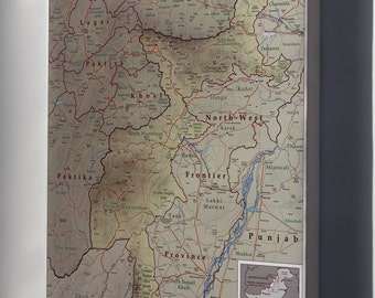 Canvas 16x24; Map Of Tribal Areas Fata Pakistan 2009