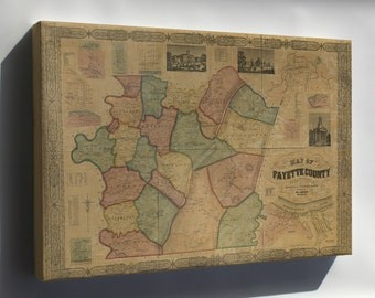 Canvas 16x24; Map Of Fayette Co., Pennsylvania 1858 P2