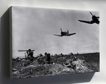 Canvas 16x24; Platoons Of Marines With F4U-1D Corsair Planes