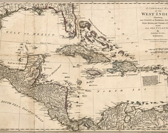 16x24 Poster; Map Of West Indies; Cuba Florida Mexico 1774 P2