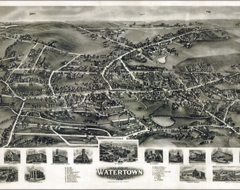 16x24 Poster; Aero View Map Of Westerly, Rhode Island 1911