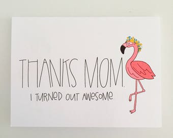 Mother's Day Card, Funny Card, Mom's day, Flamingo Card