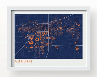 AUBURN Map Print - graphic drawing art poster tigers