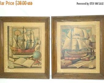 Vintage Charles Cerny Litho,Set of 2,Ship Litho,Clipper,Wood Framed Litho,Nautical Print,Charles Cerny,Litho,Framed Ship Art,Ship,Sea,1950s