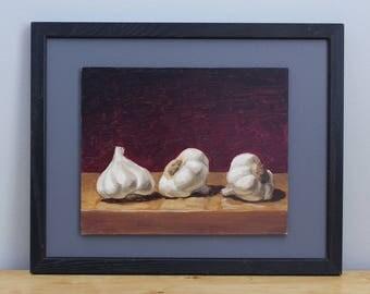 Garlic Painting, framed oil on hardboard original painting by Aleksey Vaynshteyn