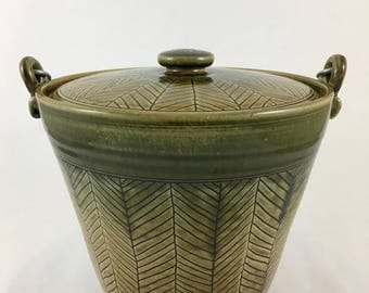 Ceramic Compost Bucket, Ice Bucket, Pottery Compost Bucket with Chevrons, Green and Gold