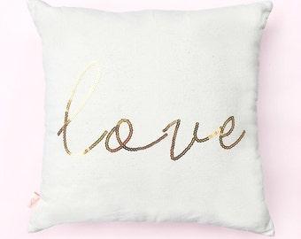 Love Pillow, Throw Pillows, Decorative Pillow, Couch Pillow, Accent Pillow, Gold Sequin Pillow, Decorative Throw Pillow, Home Decor, Pillow