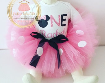 Minnie mouse birthday outfit - 1st birthday minnie mouse outfit - minnie mouse birthday  - minnie mouse theme - long sleeve onesie