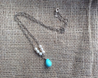 Turquoise Shell Pearl Dangle Necklace on Silver Chain